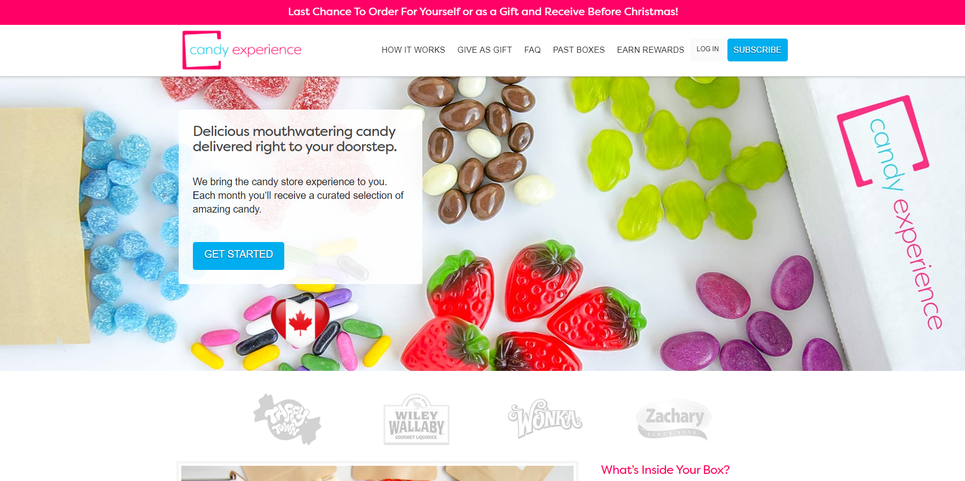 Candy Experience Web Design - Subscription Box
