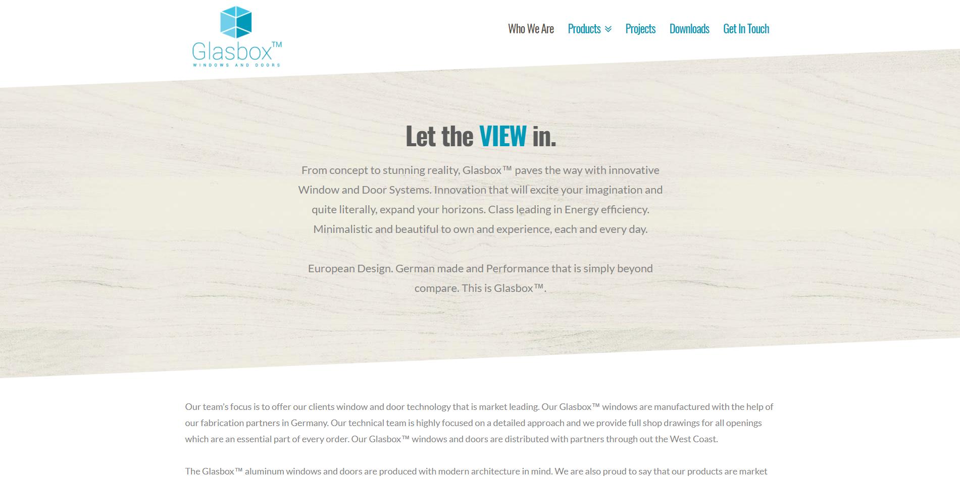 GlasBox - Manufacturer Web Design