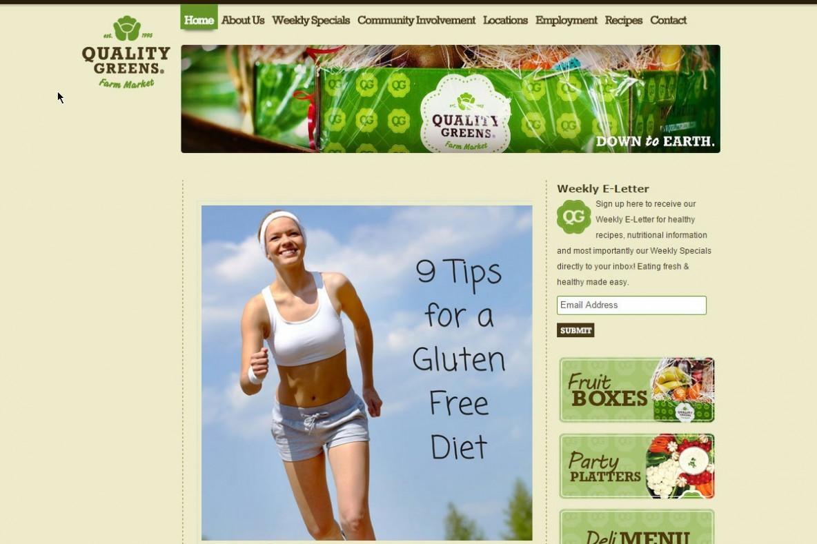 Local Food Market, Web Design - Quality Greens