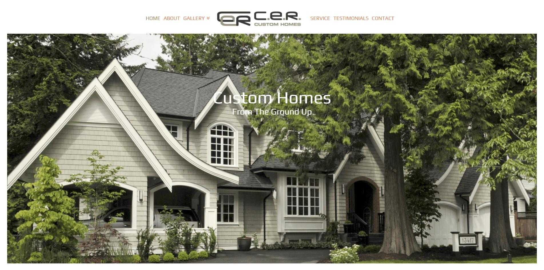CER Custom Homes - Web Design Vancouver